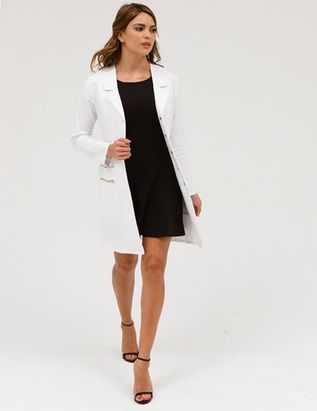 The Signature Lab Coat in White is a contemporary addition to women's medical outfits. Shop Jaanuu for scrubs, lab coats and other medical apparel.