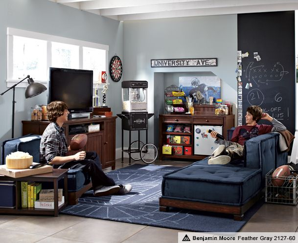 Teen Game Rooms U0026 Cushy Stadium Lounge | PBteen  Basement Idea!