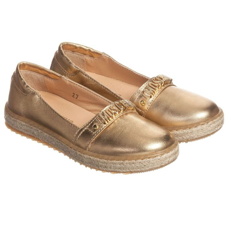NEW ARRIVAL! - MOSCHINO - Gold Metallic Espadrilles