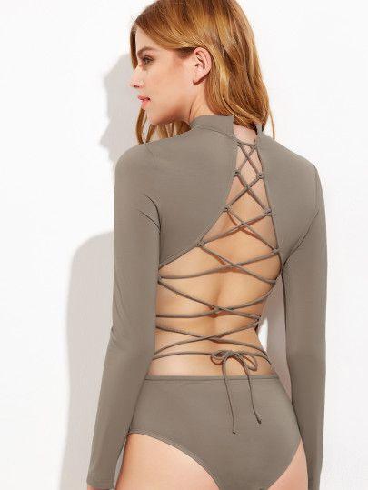 Coffee Lace Up Open Back Long Sleeve Bodysuit