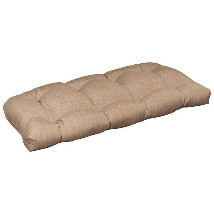 Outdoor Patio Furniture Wicker Loveseat Cushion - Textured Tan Brown Sunbrella, Outdoor Cushion