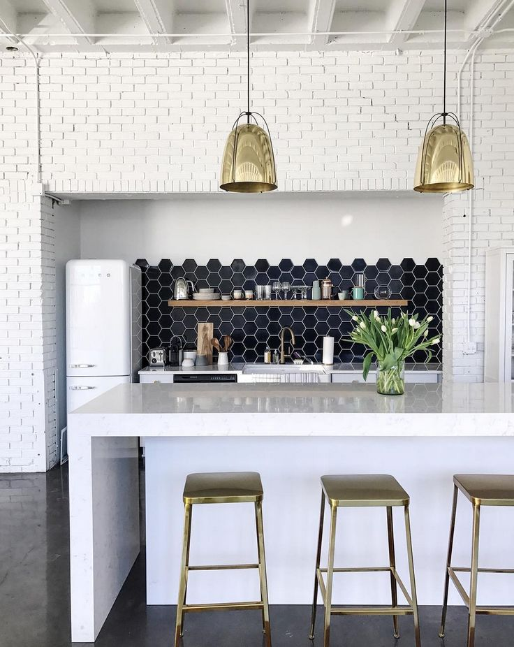 """Wit and Delight studio kitchen featuring our 6"""" Hexagon's in Navy Blue and Rejuvenation's Haleigh Wire Dome Pendant - 12"""""""