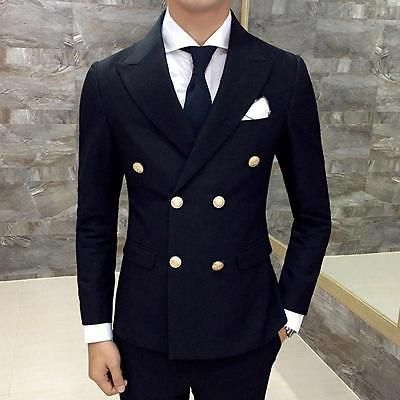 Mens Luxury Winter Double Breasted Suit Jacket Casual Sport Coat Slim Blazer @G5