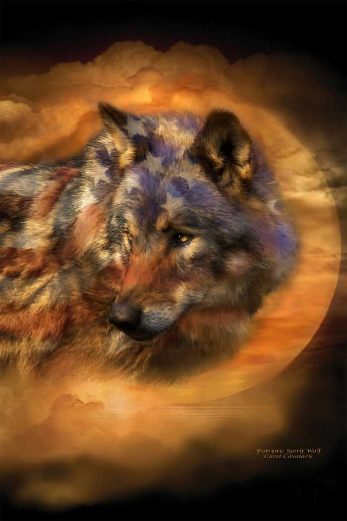 Patriotic Spirit Wolf by Carol Cavalaris from  http://www.romanceworks.com: