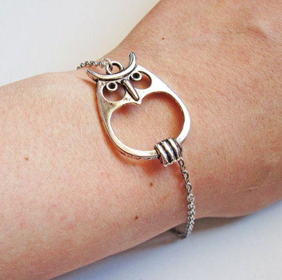 Big Owl Bracelet, Owl Jewelry in silver by RobertaValle  for jen
