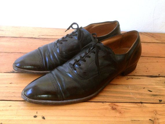 40s Stetson Wingtip Oxfords Leather Rockabilly Shoes Sz 11