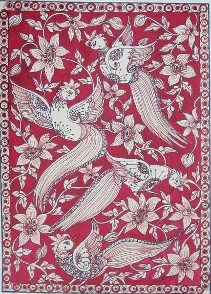Indian Painting Styles...Kalamkari Paintings (Andhra Pradesh)-5_birds_kalamkari.jpg