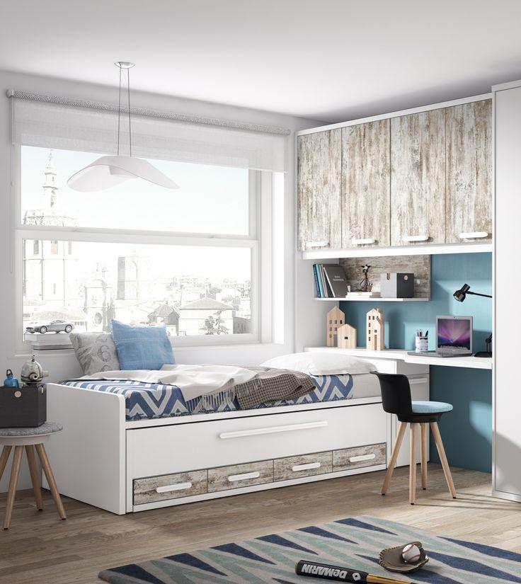 56 best shared room dormitorio compartido images on - Habitacion juvenil doble ...