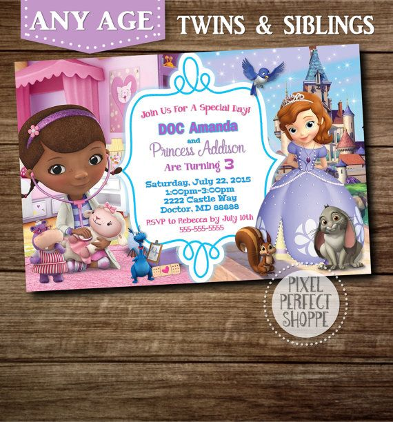 YOU CHOOSE Doc McStuffins Invitation, Toy Story Invitation, Cars Invitation, Unicorn Invitations, Puppies, Invitations For Twins or Siblings