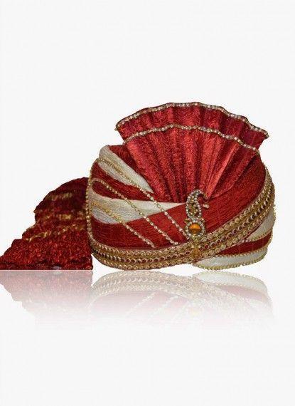 Venetian Red and Off-white Chanderi Silk Turban