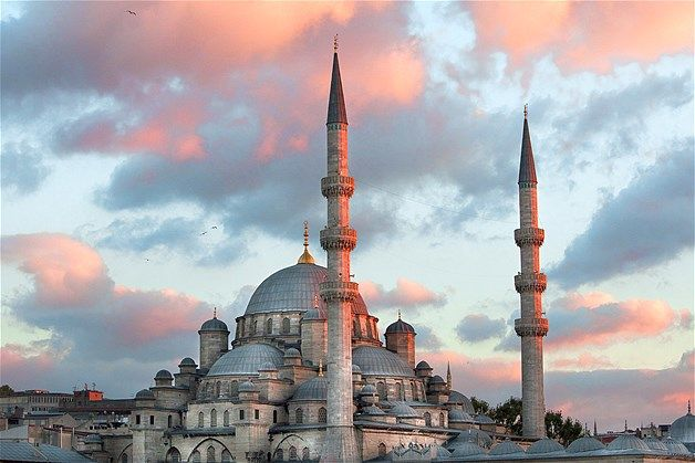 Yeni Cami, the New Mosque or the Mosque of the Valide Sultan, sits near the…
