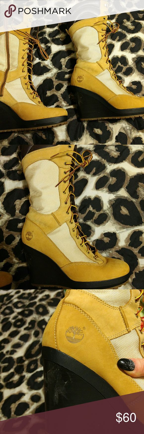 "Knee high timberland boots Only worn once 4"" wedge heel ..Small smudge where the price tag was on the heel seem in 3rd pic zipper on side of each boot Timberland Shoes Lace Up Boots"