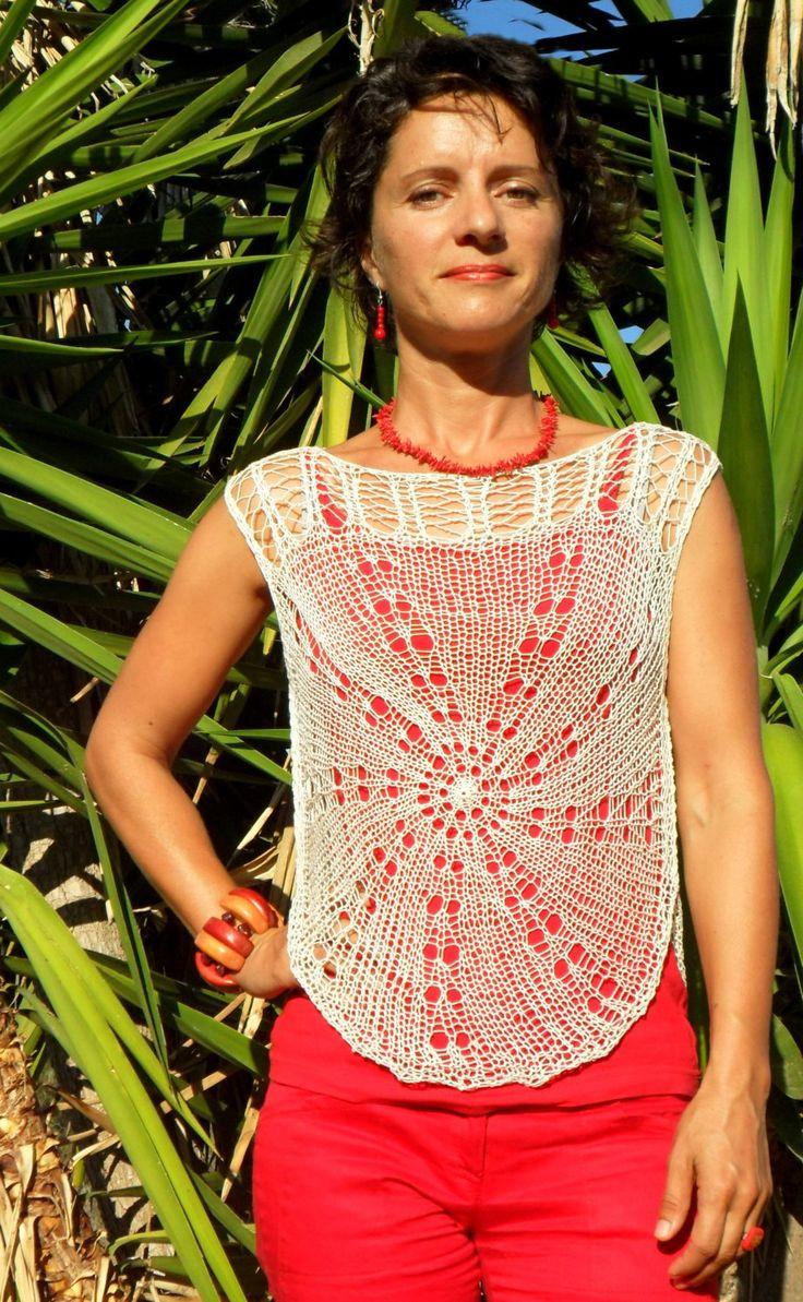 Lacy mandala cotton top by SimonaStyleByHand on Etsy