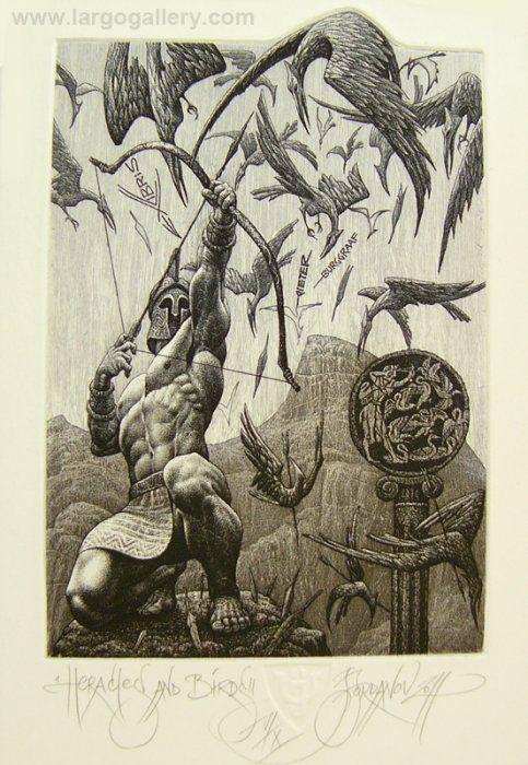 "http://www.largogallery.com/ Julian Jordanov, ""Hercules"", etching, 12/8.5"