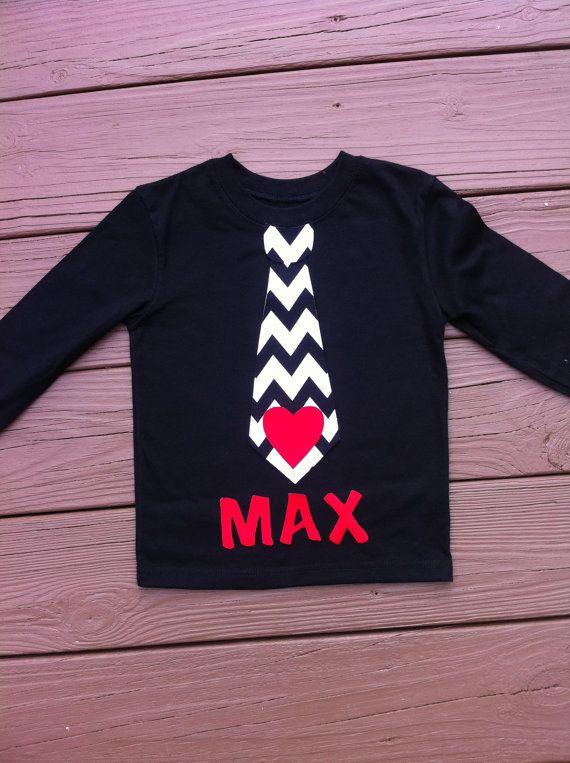 Boys Valentine shirt. Personalized name, tie, and heart applique. Black white chevron. Red heart and name. By EverythingSorella on Etsy