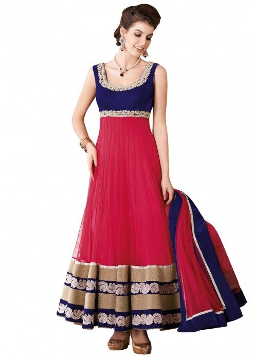 Red and blue anarkali suit with embroidered neckline -- pretty colour combo