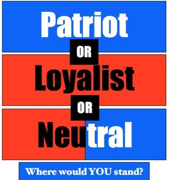 Patriot, Loyalist, or Neutral? Where would YOU stand? Critiquing Points of View!This Patriots and Loyalist lesson is included in the larger Causes of the American Revolution Unit, located here:Causes of the American Revolution Unit!Buy the bundle and save over 25%!------------This Patriot, Loyalist, or Neutral activity is best used after students have already been introduced to Patriots, Loyalists, and Neutrals in the buildup to the Revolutionary War.