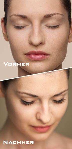 Vorher-Nachher-Look - Professionelle Wimpernverlängerung