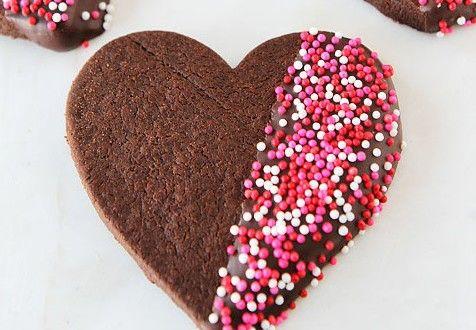 Srdíčkové sušenky s čokoládou