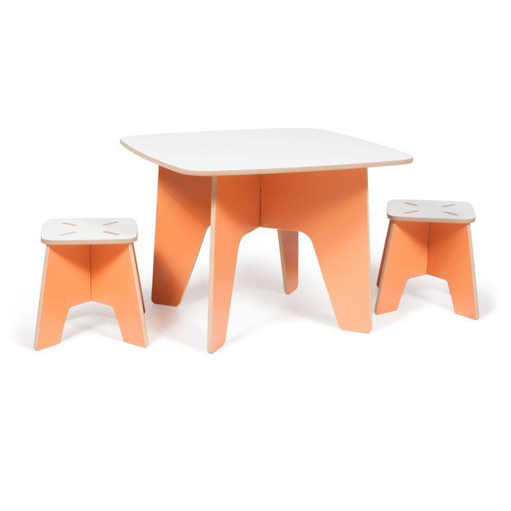 Orange Kids Table and Stools
