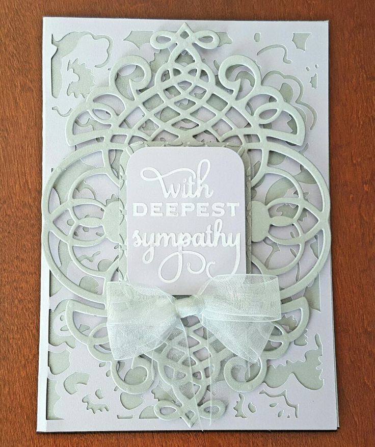 Sympathy card made from  Anna Griffin lavender and gray metallic cardstock, AG Garden Cards Cricut cartridge file, AG Fretworks die, sanded sentiment from AG Mix and Match embossing folder, Cuttlebug Kaleidoscope embossing folder, handmade sheer silver ribbon bow