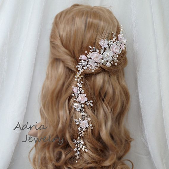 Pink Bridal Headpiece Blush Pink Wedding Hair by adriajewelry