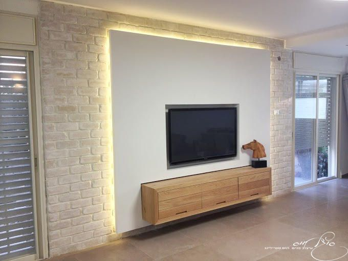 Gypsum Tv Wall Unit Idea : Tv wall , combined with gypsum , bricks & hidden lighting / קיר ...