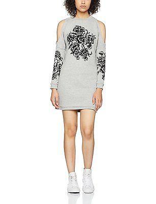 12, Grey, Miss Selfridge Petite Women's Flocked Dress NEW
