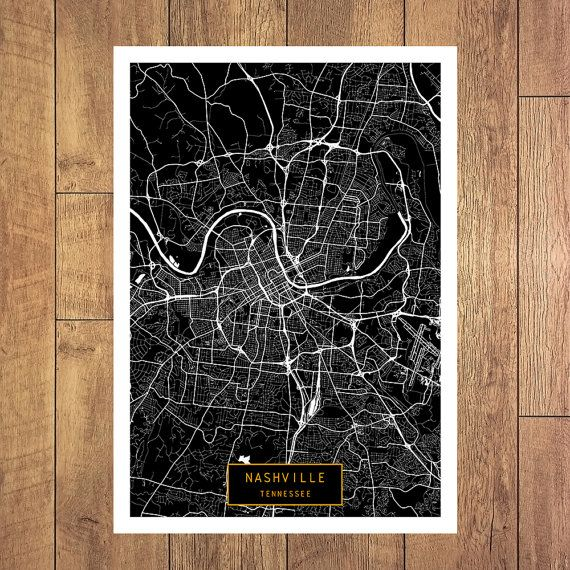 NASHVILLE Tennessee City Map Nashville Tennessee by JackTravelMap