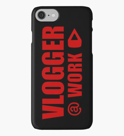 VLOGGER AT WORK (RED ON CLEAR) iPhone Case/Skin