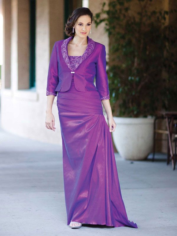 Strapless taffeta dress for mother of the bride with dropped waist