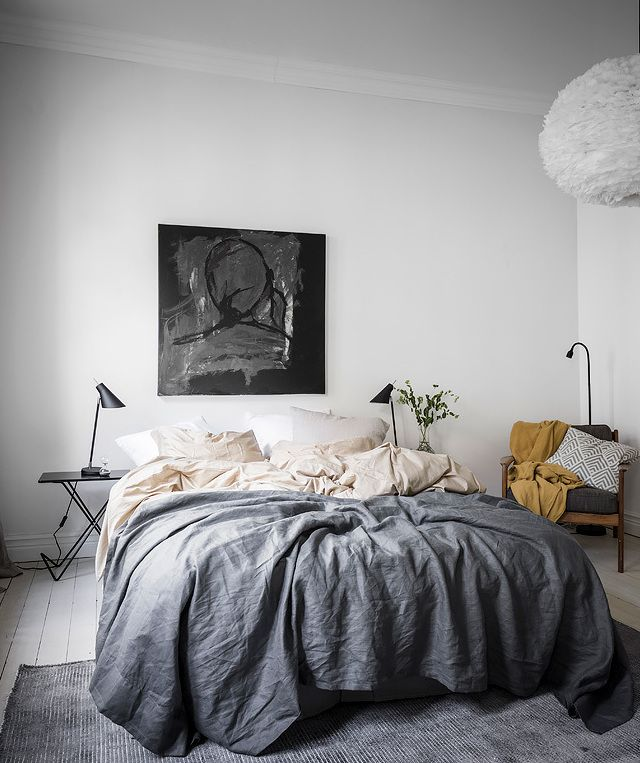 Bedroom with warm accents - via Coco Lapine Design blog
