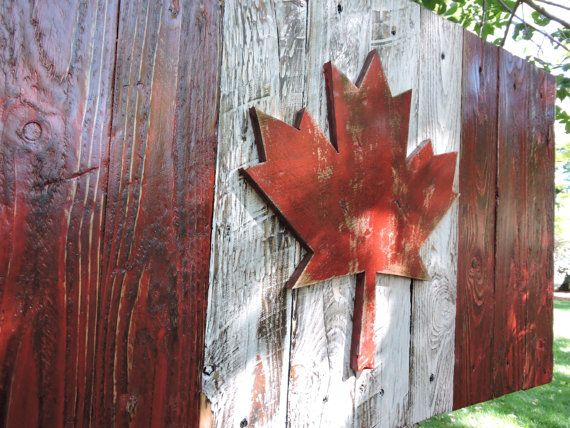3D Distressed Canadian Flag, Canada flag, maple leaf, rustic, distressed, weathered, reclaimed wood, home decor, wall art.