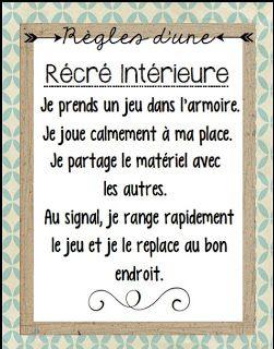 Règles Récré Intérieure http://laclassedekarine.blogspot.ca/