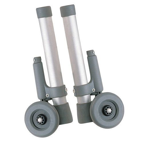 "Drive Medical Rear Glide Walker Brakes with 3"" Wheel Option, Gray by Drive Medical. $23.99. For use on back of wheeled walker.  3"" wheel glides along surface until weight is applied to hand grip, which activates rubber tip brake.  Allows for 8 height adjustments.  Includes rear glide caps and glide covers allowing use on all surfaces."