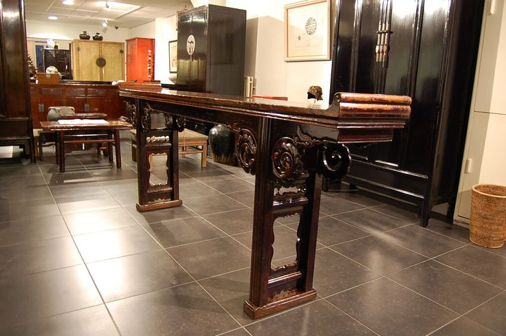 Chinese antique furniture, Jiatousun qiaotoun, Recessed-leg table with unmetered bridle joint, everted flanges, horizontal feet. Qing-Dynasty (1644-1911), 19th century Hebei province, China.