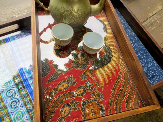 Eclectic Wooden Serving Tray With Changeable Ethnic Textile Insert by SiameseDreamDesign
