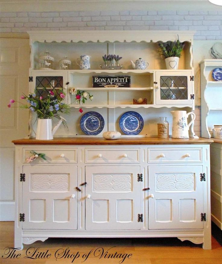 Large Solid Oak Welsh Dresser Sideboard Cupboard Cabinet Shabby Chic White  F   B. 489 best Shabby Chic Furniture images on Pinterest