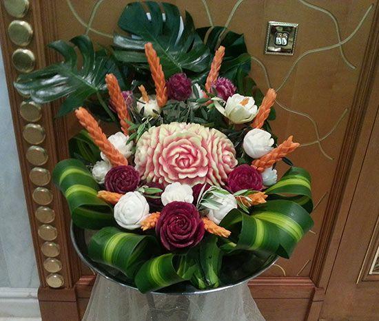 One of saada s fruit carving displays for weddings