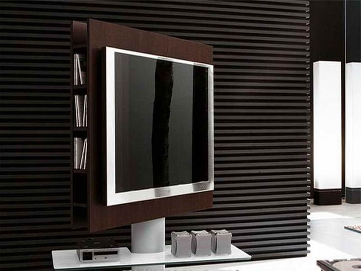 black color rotating television stand
