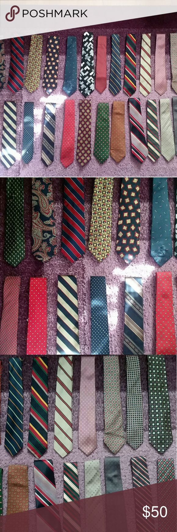 🌻SALE🌻 30 Men's Neckties Lot 30 neckties in good used condition.  Most of them are silk. Some of the brand names are Christian Dior, Saks Fifth Avenue, Pierre Carden, etc. At this price for all of these this is a steal. Saks Fifth Avenue Accessories Ties