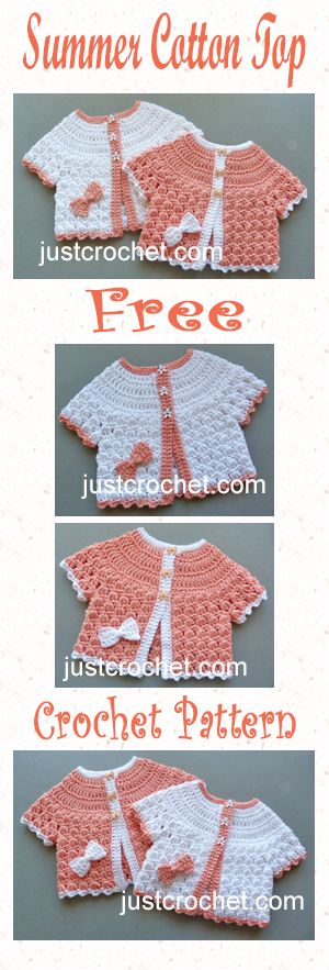 Cute and pretty summer cotton top free baby crochet pattern. #crochet