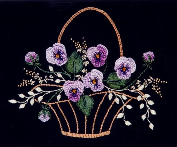 Brazilian Embroidery - Pansy Basket by Delma Moore