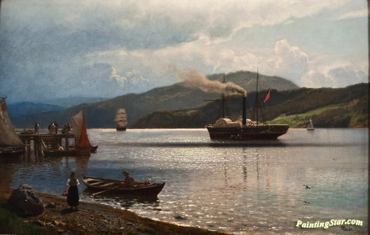Steamship At Drøbak Artwork by Hans Fredrik Gude Hand-painted and Art Prints on canvas for sale,you can custom the size and frame
