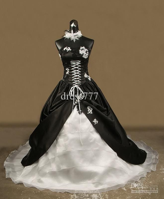 Biker Wedding Dresses | Wedding Dresses - Buy -2013 STUNNING & UNIQUE BLACK WEDDING DRESS ... this would be cute with orange ribbon for the lacing