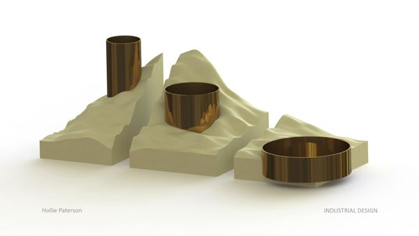 Vessel concept. A 3x part family of display vessels modeled after a mountain scape.