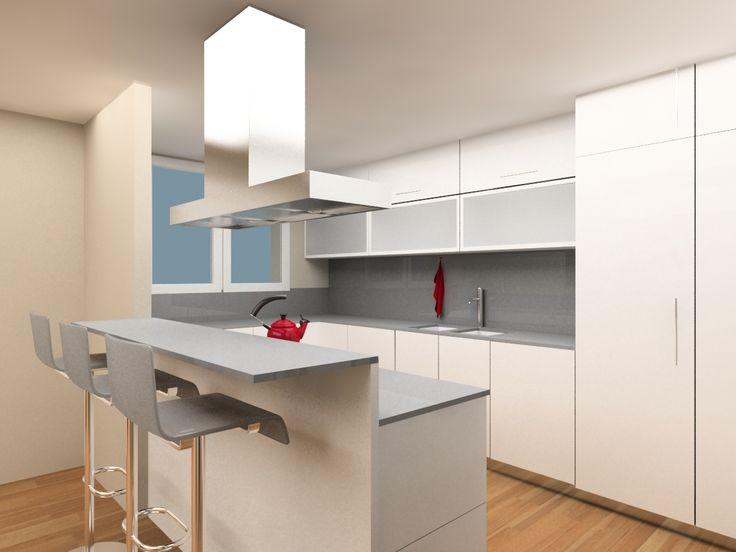 Reforma de casa en Gavà. Cocina integrada en el salón comedor con barra americana. #interiorismo #diseño #barcelona