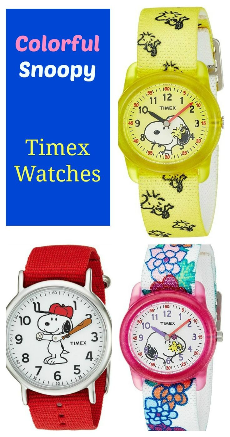 Fun Snoopy watches with colorful fabric bands #afffiliate