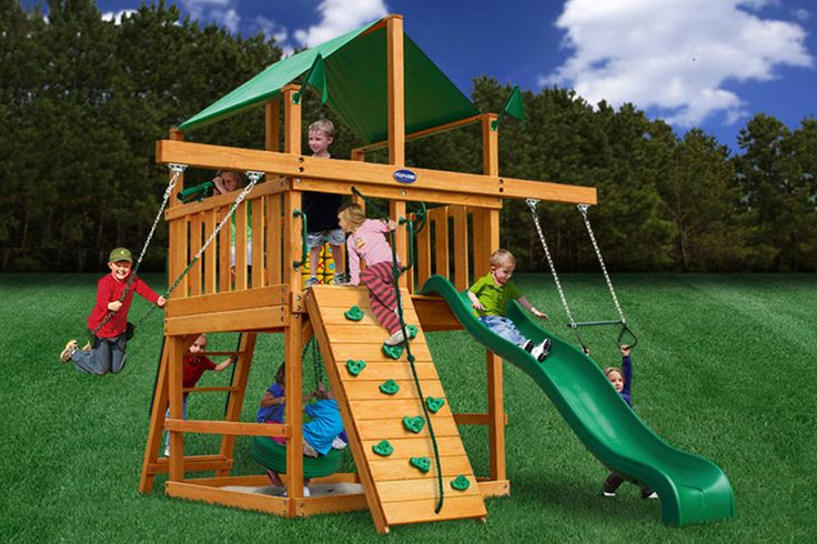 22 best images about big backyard on pinterest small for Small wooden swing sets