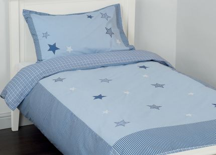 Stars Applique Bedset This attractive bedset for children features appliqued stars in a mixture of stripe, check and plain navy overlaid on soft blue. This bedset comprises a duvet cover and matching pillowcase with fine striped trims.